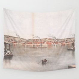 Vintage Pictorial Map of Davenport IA (1855) Wall Tapestry