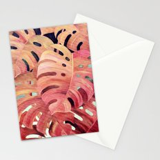 Monstera Love in Magenta and Coral - oil painting Stationery Cards