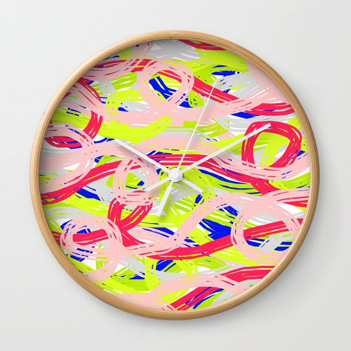 Rainbow Spaghetti 01 Wall Clock