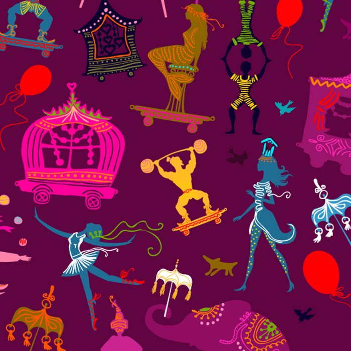 colorful circus carnival traveling in one row at night Leggings