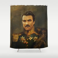 replaceface Shower Curtains featuring Tom Selleck - replaceface by replaceface