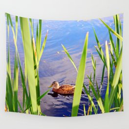 Duck Through the Reeds Wall Tapestry