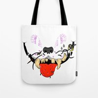 cheshire cat Tote Bags featuring Cheshire by Jorge Daszkal