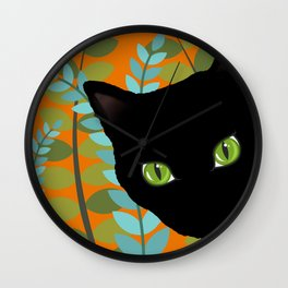 Black Kitty Cat In The Garden Wall Clock