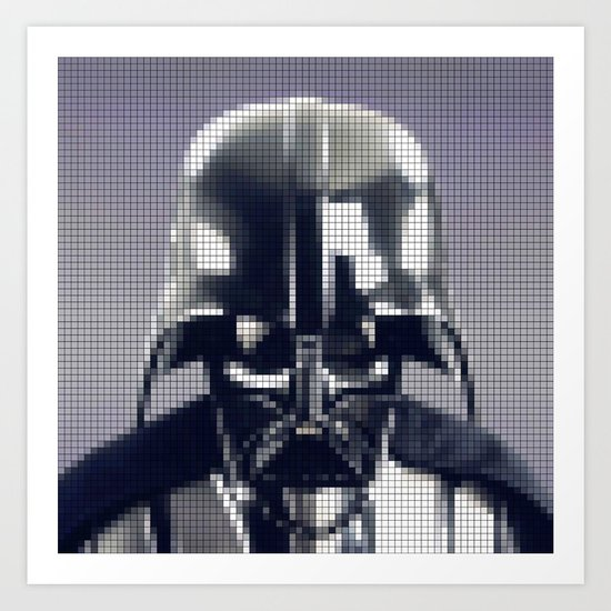 Darth Vader Helmet Pixel Art Print