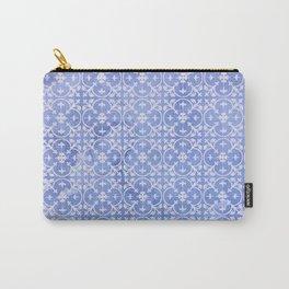 Geometrical blue tones watercolor quatrefoil floral Carry-All Pouch