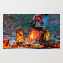 Pouring Coffee by the Campfire Rug