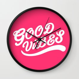 Good Vibes Happy Uplifting Design White And Magenta Wall Clock