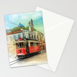Old tram in Istanbul Stationery Cards
