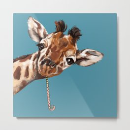 Sneaky Giraffe Metal Print