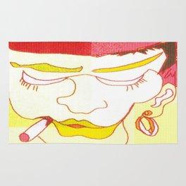 digital art of a woman smoking yellow red white zolliophone Art shop Rug