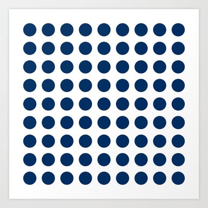 Dark blue and white polka dots pattern Kunstdrucke