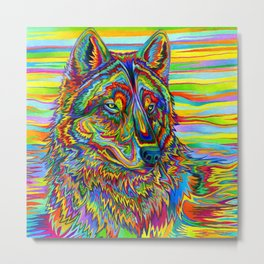 Colorful Psychedelic Rainbow Wolf Metal Print
