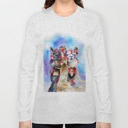 Cute Alpacas friends in Watercolor Long Sleeve T-shirt