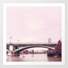 Pink mood at Triana Bridge Art Print