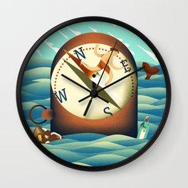 compass surfing Wall Clock