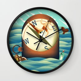 compass surfing Wall Clock