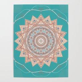 Bright Aqua Star Mandala Design Poster