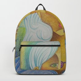 Girl with Green Eyes and Purple Necklace Backpack