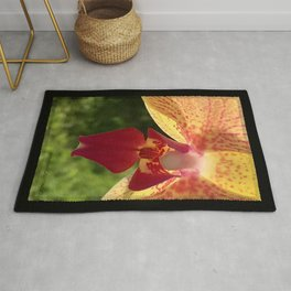 Yellow Orchid Flower Blossom from Mexico Rug
