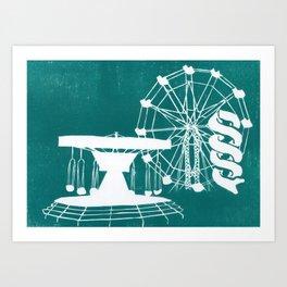 Seaside Fair in Turquoise Art Print