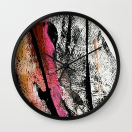 Motivation [2] : a colorful, vibrant abstract piece in pink red, gold, black and white Wall Clock