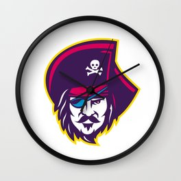 Privateer Pirate Head Mascot Wall Clock