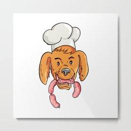 Chef Dog Biting Sausage String Cartoon Color Metal Print