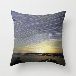 Milky Way Star Trails Throw Pillow
