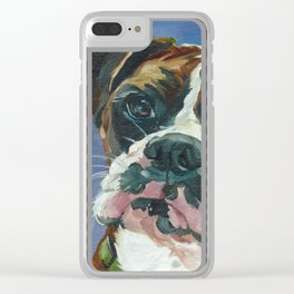 Khloe the Boxer Dog Fine Art Portrait Clear iPhone Case