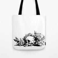 hamlet Tote Bags featuring Hamlet Skull by Alex Moon