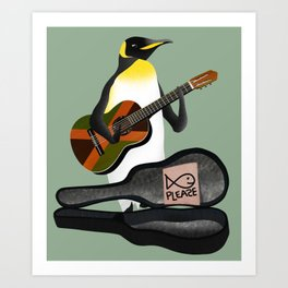 Penguin Busking Art Print