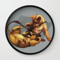 simba Wall Clocks featuring Simba and Nala by akreon