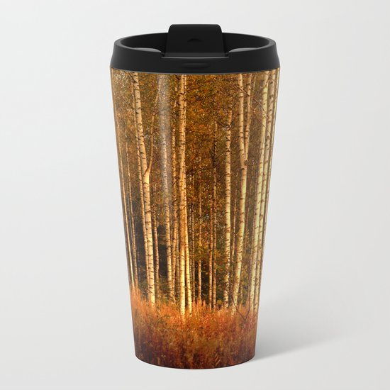 The Birches in Autumn Metal Travel Mug