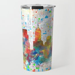 indianapolis city skyline watercolor 6 Travel Mug