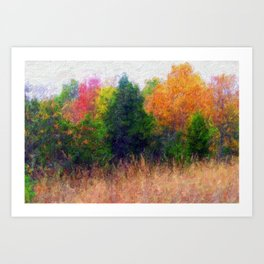 Colorful painted Trees Art Print