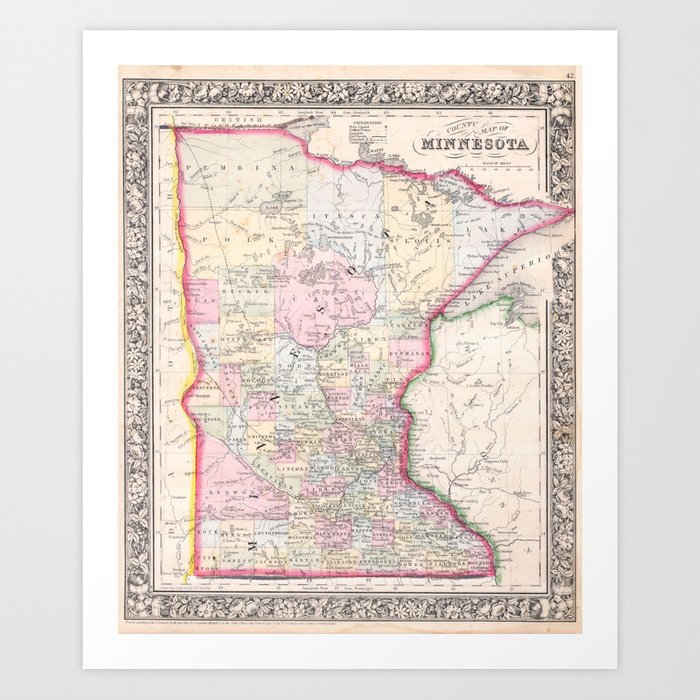 graphic relating to Printable Map of Minnesota referred to as Common Map of Minnesota (1864) Artwork Print