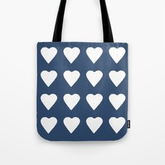 16 Hearts White on Navy Tote Bag
