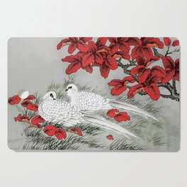 Vintage White Doves and Red Leaves on Gray / Grey Cutting Board
