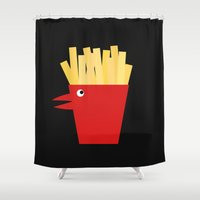 french fries Shower Curtains featuring Chicken Tenders and French Fries by Dang-Nam