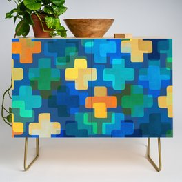 Positively Blue / Abstract Geometric Shapes Credenza