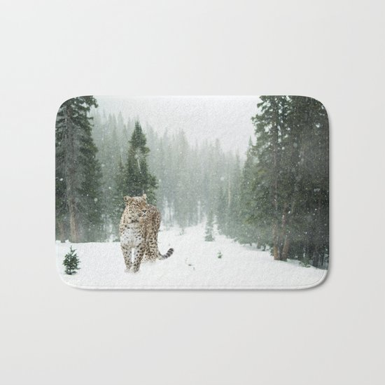 Leopard in the Snow Bath Mat