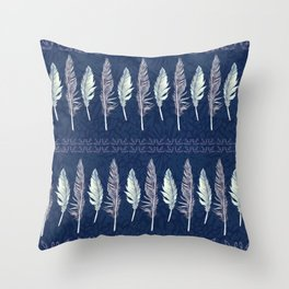 Midnight Blue Feather Formation Throw Pillow