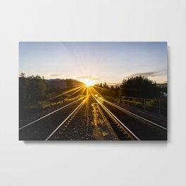 railroad sunset Metal Print