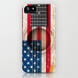 Old Vintage Acoustic Guitar with American Flag iPhone Case