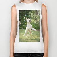 pitbull Biker Tanks featuring Pitbull and Bubbles  by Laura Ruth