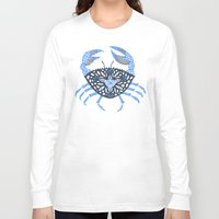 crab Long Sleeve T-shirts featuring Blue Crab by Cat Coquillette