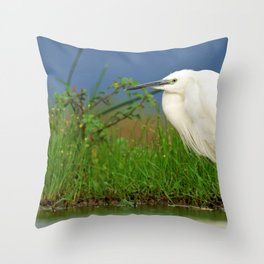 Impressive Big White Fishing Bird In Pond Zoom UHD Throw Pillow