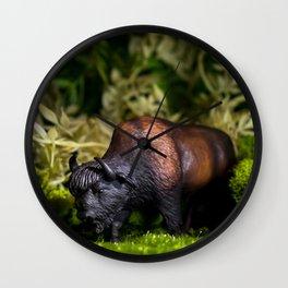 A Bison/Buffalo in lush greenery Wall Clock