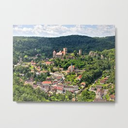 Hardegg town with ancient castle. Metal Print